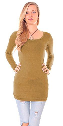 Easy Young Fashion Damen Langarm Basic Longshirt Rundhals Uni Curry
