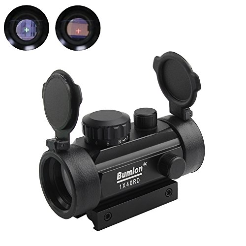 Bumlon Rot Grün Dot Sight Zielfernrohr Reflex Holographische Optik Taktische Passt 11mm / 22mm Schiene mit Flip up Objektivdeckel für Airsoft Gun
