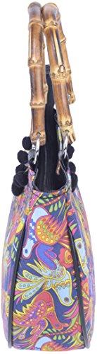 Küstenluder JOETTE Mexican Bird Vintage Folklore BAMBOO Pin Up Tasche Rockabill Dunkelblau mit Folklore Muster