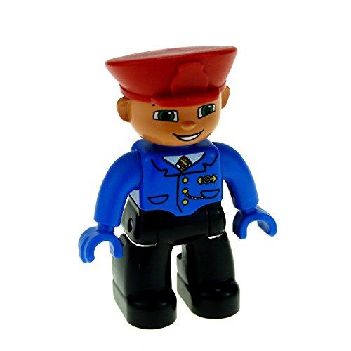 1 x Lego Duplo Figur Mann Hose schwarz Jacke blau mit Krawatte Mütze Hut rot Uniform Hände blau Lokführer Schaffner Zug Eisenbahn (Hut Schaffner)