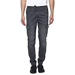 Mufti Mens Grey Low Rise Sports Fit Joggers (36)