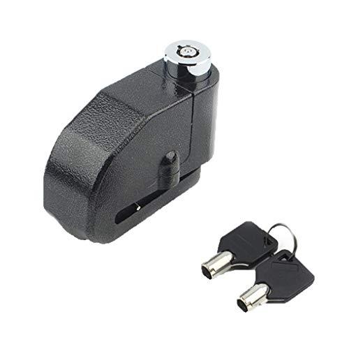 ELENXS Motorrad Aluminium Legierung Lock W/Lauter Alarm Anti Diebstahl Sicherheit Ersatz für Roller Fahrrad Schwarz