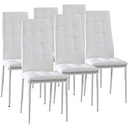 Pack 6 sillas de comedor Sophia tapizadas, piel sintética en Blanco y pata pintada