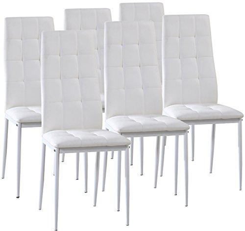 Pack 6 sillas Sophia tapizadas con piel sintética en Blanco y pata...