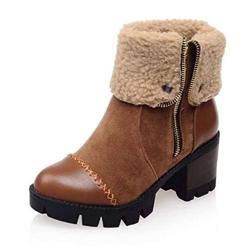 FMWLST Stiefel Frauen Spitze Martin Stiefel Platform Square High Heel Stiefel Damen Halb-Kurze Stiefel, 40 (Heels Frauen Braune Kurze Stiefel)
