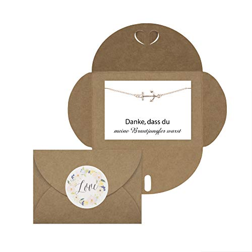 Lillyville - Brautjungfern Geschenk mit Anker Armband Rosegold und Karte - Danke, DASS du Meine Brautjungfer warst - Hochzeit Einladung - Umschlag Craft