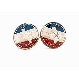 Traveling Pennies Texas Manschettenknöpfe Anzug Flagge Staat Münze Schmuck USA Vereinigte Staaten Amerika Lone Star Cowboy Houston San Antonio Dallas Austin