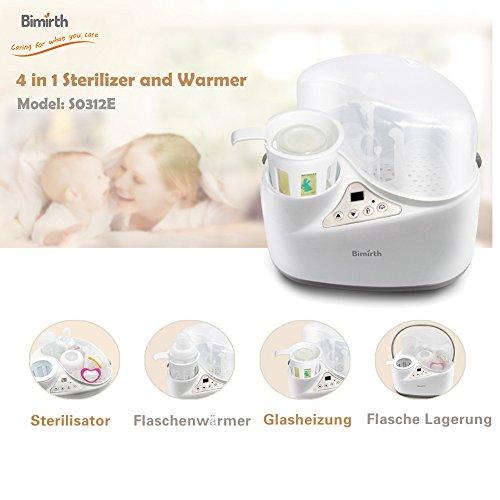 4 in 1 Flaschenwärmer, Bimirth warme Milch Sterilisation mit Heizung, wärmer, Elektro-Dampf-Sterilisation und Lagerung für Food Bottle Trocknung - 2