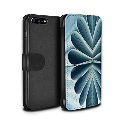 Stuff4 Coque/Etui/Housse Cuir PU Case/Cover pour Apple iPhone 7 Plus / Cuillère/Rayures Design / Art Abstrait Collection Livre/Fleur de Papier