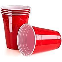 Vivaloo 100 Bicchieri in Plastica Rossi Americani per Beer-Pong, Birra, Cocktail, Party | Usa e Getta | Birrapong | Feste e Giochi con Amici e di Laurea | Capienza 473 Ml | Originali College USA