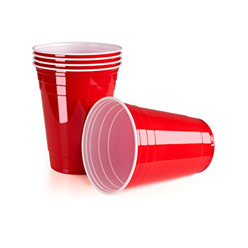 Rote Partybecher 50 Stück | Beer Pong Party Cups | Extra Starke Bierpong Becher Rot | Kunststoffbecher | Plastikbecher | Original USA Turnierbecher | Camping | Wiederverwendbar | 16oz 473ml | Vivaloo