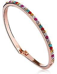 J&F - Pulsera de mujer rígido con cristal Swarovski Crystal, bañado en oro rosado