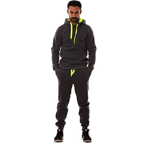 Toocool - Tuta UOMO felpa pantaloni fitness palestra cappuccio tasche sport nuova S6603 [XXL,GRIGIO SCURO FELPATO]