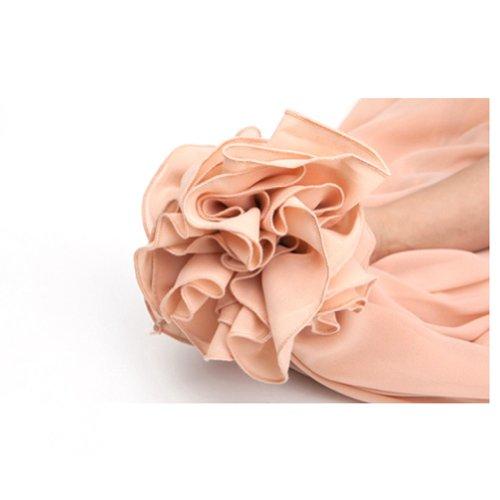 Oneworld Damen Frauen lang Chiffon Bohemien Bodenlang Maxi Rock Strandkleider Kleider einfarbig Frühling Sommer Pink1