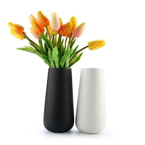 ComSaf Glasvase Keramik Mordern Zylinder Design Packung mit 2, Glasfläschchen Kristallglas Glasflaschen in dekorativer Glas Blumenvase Höhe für Blumen, Deko & Hochzeit