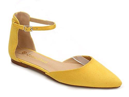 ComeShun Damen Durchgängies Plateau Sandalen mit Keilabsatz, Gelb - Gelb - Größe: 40 (Gelbe Ballerinas)