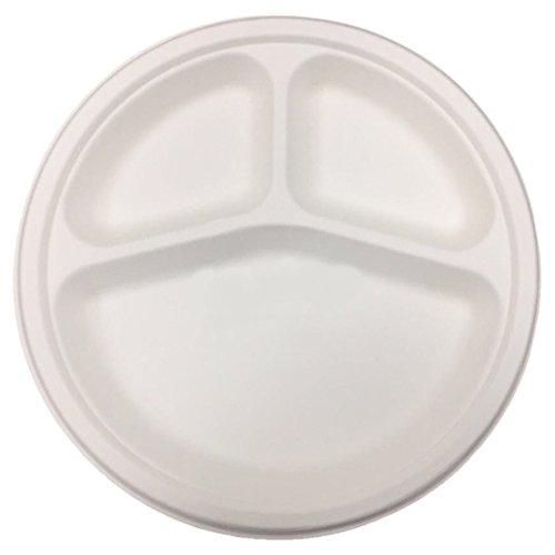 (By Magnet7 Hochwertiges biodegrable Müllbeutel aus Zuckerrohr Bagasse, 3Fächer, 50Stück, 10Zoll (25,4cm) Teller, Einweg-Geschirr | Pappteller/Einwegteller maincourse)