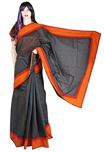 Indian Beauty Boutique Traditional Ethnic Women's Girl's Ladies Red Chanderi with Pallu Applic Transparent Desigen Saree Sarees Handloom Work South Indian Saree with Maching Blouse Piece Free Size Saree