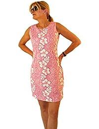 KY's | Robe hawaïenne originale | S - XXL | Vêtements de citrouille | Hawaii Imprimer | fleurs blanches | Rose