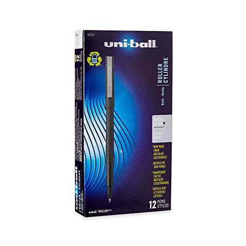 Roller Ball Stick Dye-Based Pen, Black Ink, Micro, Dozen - Dye Barrel