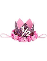 Bembika Baby Princess Crown Girls Kids First Birthday Hat Sparkle Pink Flower Style With Artificial Rose 1