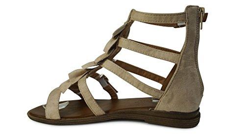 Damen Sandalen Sandaletten Römer Riemchen Fesselriemen ST903 Beige
