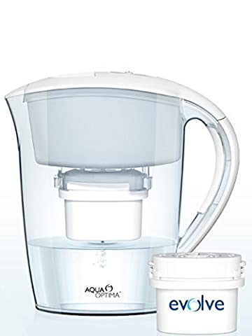Aqua Optima EJ0330 Minerva Water Filter Jug, White, with Four (4) Evolve 30-day Filters - 4 Months' Filter Supply