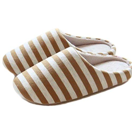 Fortuning's JDS Unisexe Adultes Couple Chaussures Confortable Coton Maison Simple Style Bande agréable forme plate Pantoufles Marron