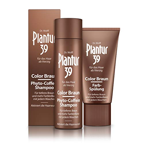 Plantur 39 Phyto caffeine shampoo, colour brown, 250 ml plus conditioner 150 ml, for deeper brown, against menopausal hair loss.