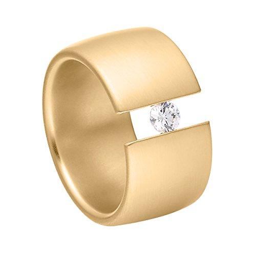 Heideman Ring Damen Elegantia breit aus Edelstahl Gold farbend matt Damenring für Frauen mit Swarovski Stein Zirkonia Weiss im Brillant Schliff 4mm