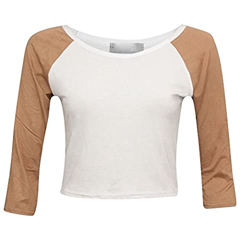 Janisramone - T-shirt - Brassière - Uni - Manches 3/4 - Femme Camel With White M/L (40-42)