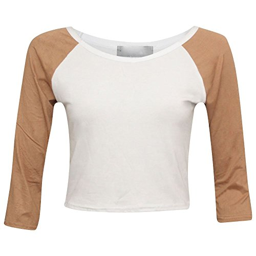 Janisramone -  T-shirt - Top - Basic - Maniche a 3/4 - Donna Camel With White M/L(44-46)
