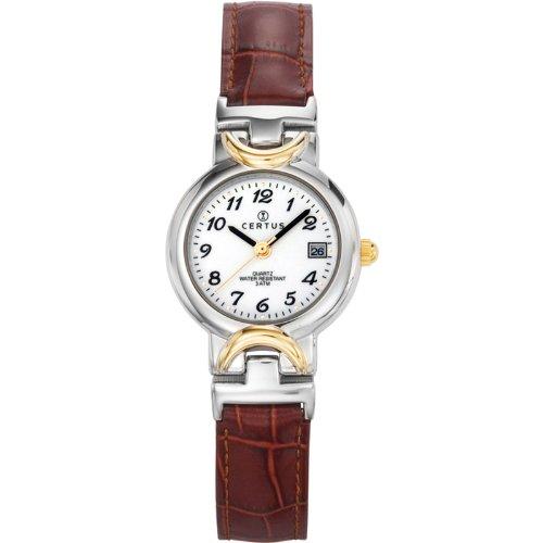Certus  645338 - Reloj de cuarzo para mujer, con correa de cuero, color marrón