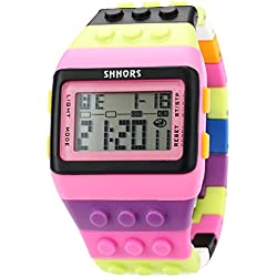 AMPM24 LED Contractor Rubber LCD Digital Alarm Men's Lady Sport Wrist Watch Pink LED088