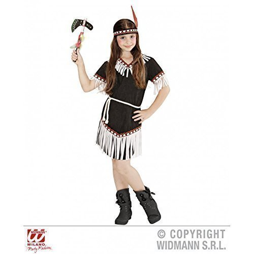 Lively Moments schwarzes Kostüm Indian Girl (Kleid, Gürtel, Stirnband) Kinderkostüm Gr. 8 - 10 Jahre ca. 140 - Kind Weiß Indian Girl Kostüm