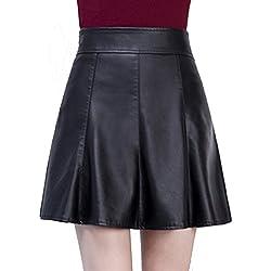 Helan Mujeres Las faldas de cuero cortos de cintura alta paraguas plisado PU Negro EU 44