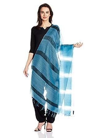 Blue Orange Silk Wool Handloom Dupatta by Jaypore