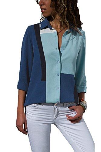 FuYang Damen Blusen Langarm Tunika Oberteile V-Ausschnitt Elegant Gestreift Lässig Lose Hemd Bluse T-Shirt S-XXL (XX-Large, D-Marineblau)