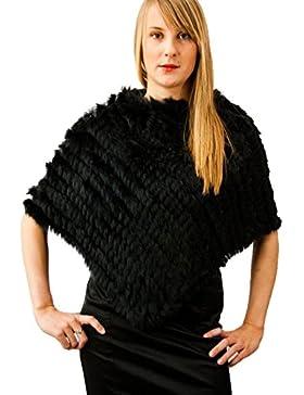 MEEFUR mujeres verdaderas chaqueta de pieles de punto de piel de conejo poncho cabos de invierno