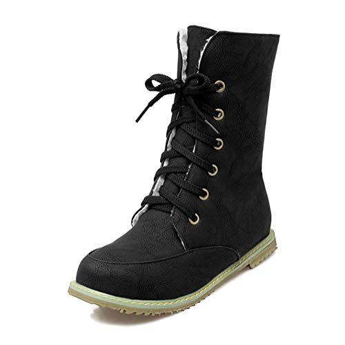 Minetom Femmes Chaud Bottes Courtes Plates Automne Hiver Cuir PU Peluche Chelsea Bottines Antidérapant Lacets Chaussures Casual Boots Grande Taille Noir EU 44