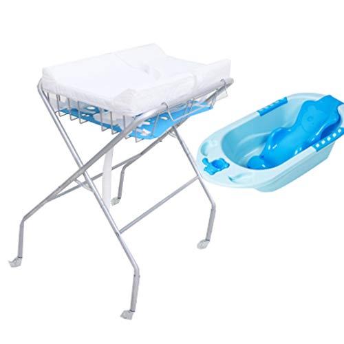 ZQ Wickelaufsatz Baby Wickeltisch mit Badewanne und Rädern, Faltbare Windel Station Kindergarten Veranstalter für Säugling, Kommode Faltbare Cross Leg Style, weiß