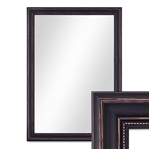 PHOTOLINI Wand-Spiegel 60x80 cm im Massivholz-Rahmen Landhaus-Stil Dunkelbraun/Spiegelfläche 50x70 cm