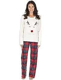 Ladies Christmas Fleece Pyjamas, Festive Warm Thermal PJs Set Lounge Wear, Size 8-22, B19 By Daisy Dreamer®