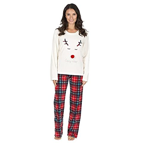 Ladies Christmas Fleece Pyjamas, Festive Warm Thermal PJs Set, Size 8-22, B19 By Daisy Dreamer®, Cream Dear,