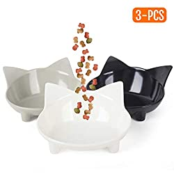 Cotill Cat Bowls, Anti-slip Multi-purpose Cat Food Bowl Pet Water Bowl Cat Feeding Bowl, Set of 3 - Grey/Black/White