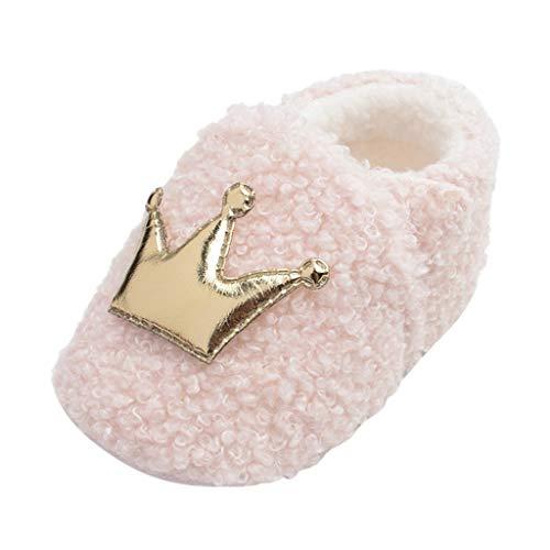 FNKDOR Schuhe Unisex Neugeborene Baby Lauflernschuhe Winterschuhe Plüschschuhe Pink 6-9 Monate Mit Warmer Gefüttert Weicher Boden rutschfest Klettverschluss Kaiserkrone Babyschuhe