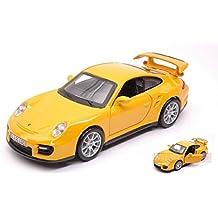 BURAGO BU43100P PORSCHE 911 GT2 YELLOW 1:32 MODELLINO DIE CAST MODEL