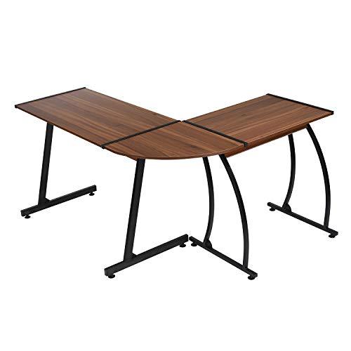 FURNITURE-R France Informatischer Schreibtisch in L-Form Holztisch für Laptop Weitwinkel, PC-Gaming für Zuhause und Büro, Nussbaum, Schwarz - L-förmigen Schreibtisch Möbel