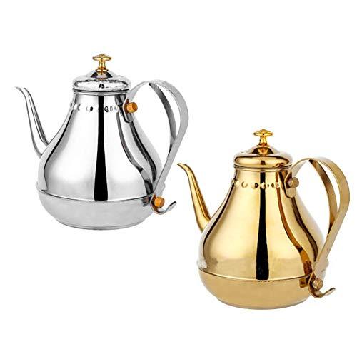 BAIJ Hand-Kaffeekanne, Edelstahl Herd Kaffeemaschine Wasserkocher, Klassische Palast Teekanne, Schnelle Erwärmung, 1,2 L / 1,8 L,Gold,1.8L