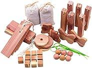40-Pack Cedar Blocks for Clothes Storage, Aromatic Cedar Wood Hangers and Hearts Blocks Natural Closets Deodor